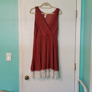 Burnt Orange Dress with Crocheted Detail